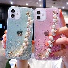 Custodia morbida per telefono con bracciale in perle per iPhone 11 12 Pro Max XS X XR 7 8 6 6s Plus mini SE 2020 Cover antiurto con Glitter