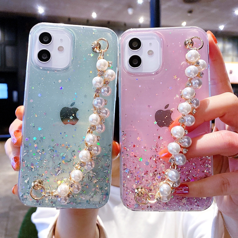 Soft Pearl Bracelet Phone Case For iPhone 11 12 13 Pro Max XS X XR 7 8 6 6s Plus mini SE 2020 Glitter Shockproof Cases Cover