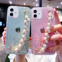Funda de teléfono con pulsera de perlas suaves para iPhone, carcasa con purpurina a prueba de golpes para iPhone 11 12 Pro Max XS X XR 7 8 6 6s Plus mini SE 2020
