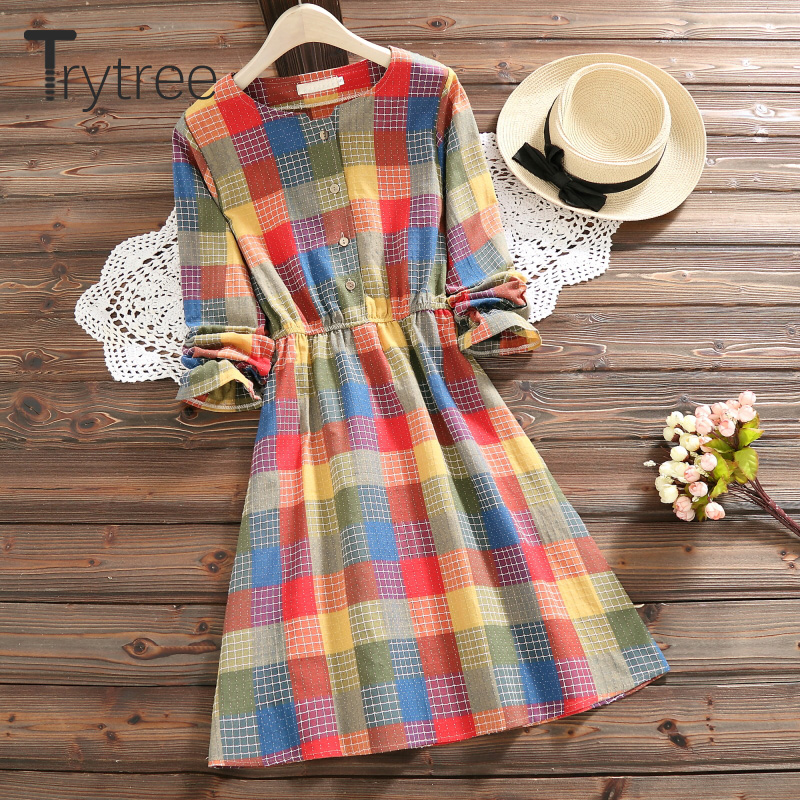 Trytree Autumn Women Dress Casual Colorful Plaid O-Neck Button Shirt Dresses Elastic Waist A-Line Knee-Length Office Lady Dress