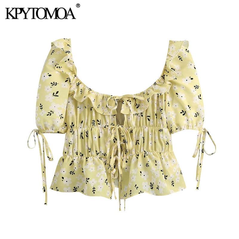 KPYTOMOA Women 2020 Sweet Fashion Printed Ruffled Cropped Blouses Vintage Puff Sleeve Drawstring Tied Female Shirts Chic Tops