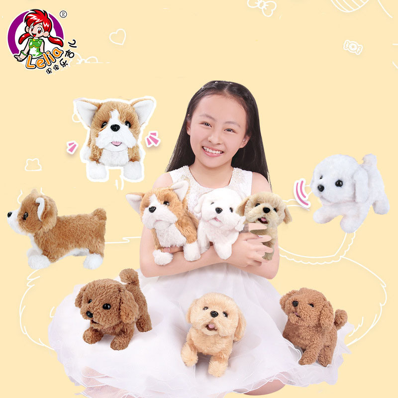 Kids Electric Soft Plush Robot Dog Husky Toys Can Bark Walking Simulation Animals Toys For Children Christmas Gifts