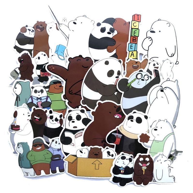 42pcs/set We Cute Bare Bears Stickers Kawaii Luggage Trolley Case Skateboard PVC Waterproof Personality Cartoon Graffiti Sticker