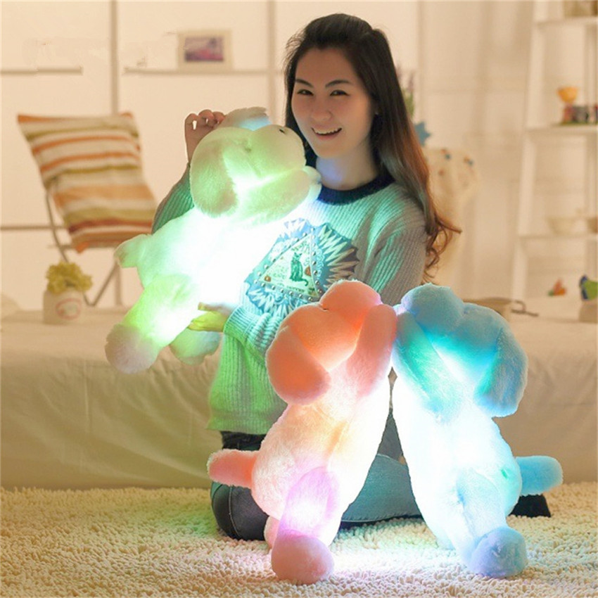 Colorful Luminous Teddy Dog LED Light Plush Pillow Cushion Kids