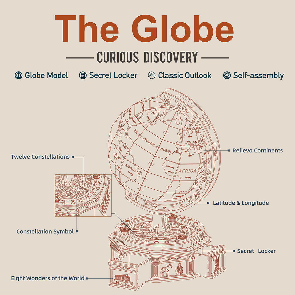 Robotime ST002 The Globe Huge 3D Wooden Model