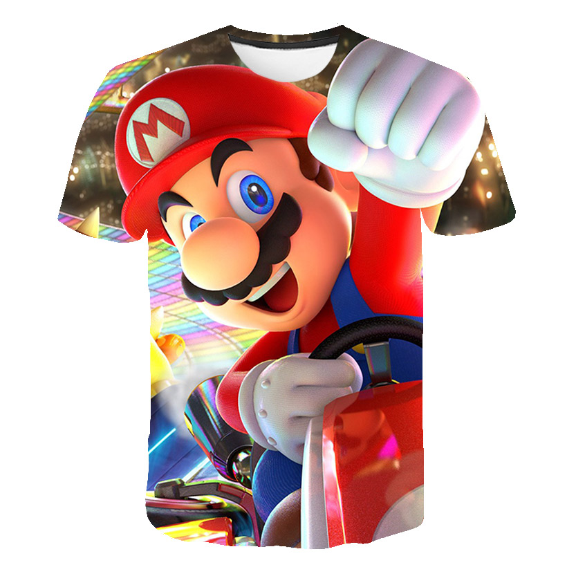 Funny Mario Boys T Shirts Mario Bros Mashup T Shirt Fashion Kawaii Harajuku Kids Clothes Hip Hop Streetwear Boys Clothes Tops