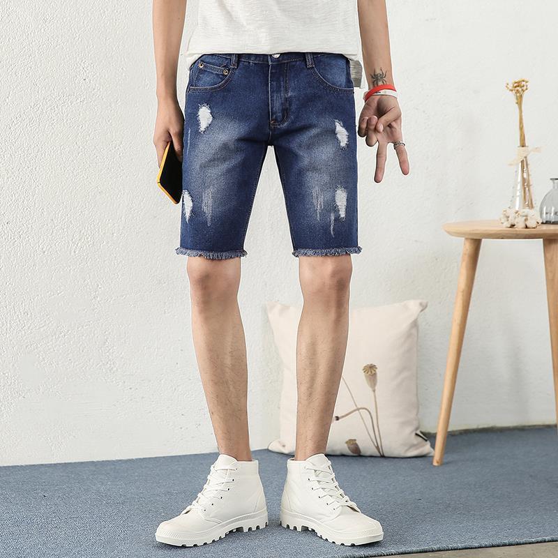 Short Denim Shorts Men Korean-style Youth Casual Slim Fit Fashion With Holes Shorts 2019 Summer New Style Fashion