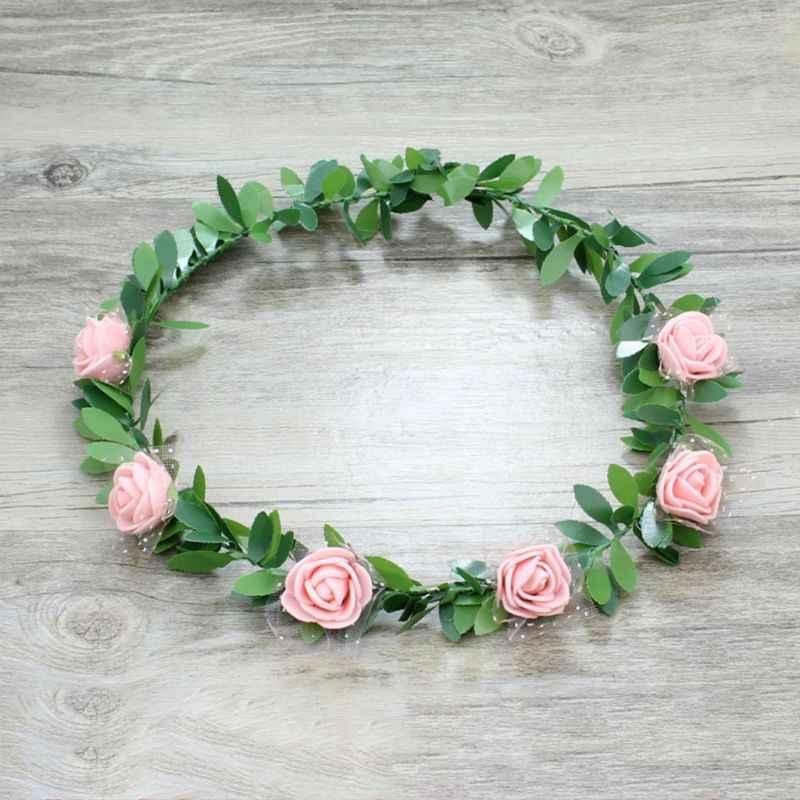 7 Warna Bohemian Bridal Headband Wreath Wanita Rainbow Busa Rose Bunga Mesh Garland Daun Hijau Dibungkus Pesta Pantai Alat Peraga