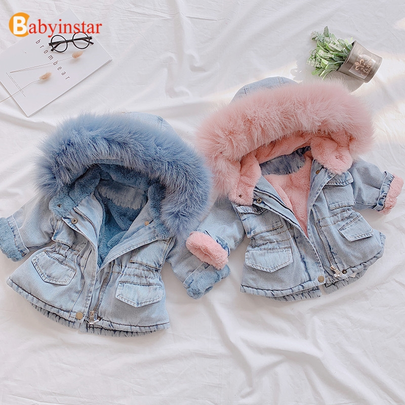 Babyinstar New Big Fur Collar Winter 1-5Y Hooded Baby Girl Denim Jacket Winter Coat Kids Winter Jacket Baby Girl Clothes Kid
