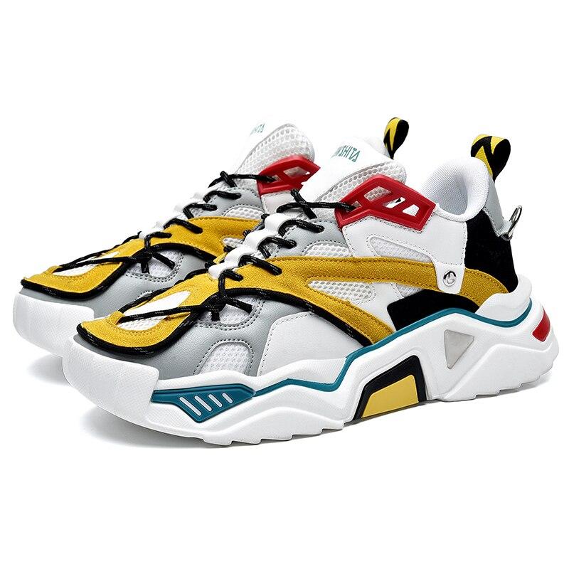 RASMEUP 2020 Fashion Brand Style Spring Men Breathable Mesh Chunky Sneakers Men Platform Shoes 36-44 Plus Size Male Sneakers