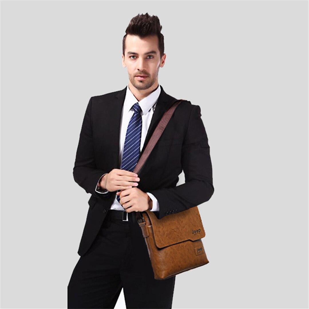 Jeepbuluo homens tote bags definir famosa marca nova moda homem de couro saco do mensageiro masculino cruz corpo ombro sacos de negócios para homens
