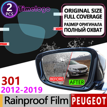 For Peugeot 301 Full Cover Anti Fog Film Rearview Mirror Rainproof Anti-Fog Accessories 2012 2013 2014 2015 2016 2017 2018 2019 for peugeot 3008 2008 2020 mk1 mk2 3008gt gt full cover anti fog film rearview mirror rainproof accessories 2013 2015 2017 2018