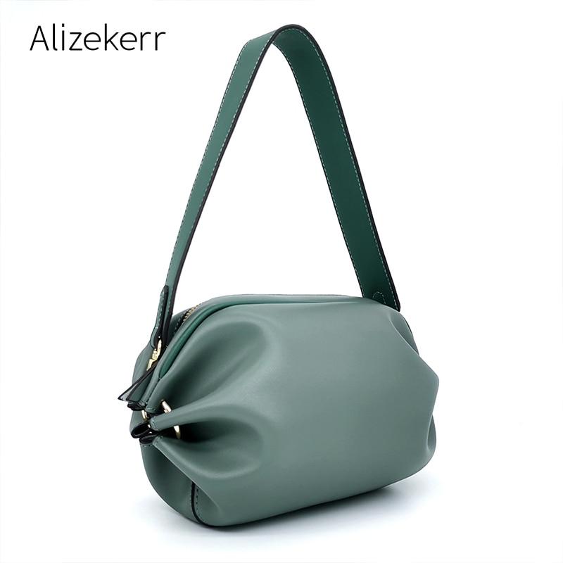 Fold Pillow Shape Bag Women Chic Fashion Candy Wide Shoulder Strap Small Crossbody Bag For Girls Cute Clutch Purses High Quality