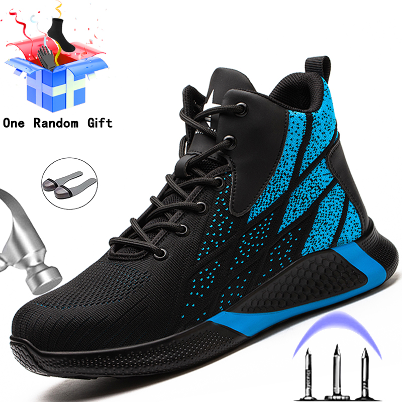 Fashion Safety Shoes Men Boots Indestructible Work Shoes Puncture Proof Work Boots Men Sneakers Steel Toe Shoes Safety Boots 46
