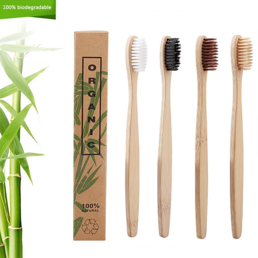 4 Colors 50pcs/lot Natural Bamboo Toothbrush Oral Care Health Tool Environmentally Soft Bristles White Tooth Brushes-in Toothbrushes from Beauty & Health