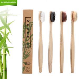 Image 1 - Cepillo para cuidado dental de bambú Natural, cerdas suaves para el Medio Ambiente, 4 colores, 50 unidades/lote