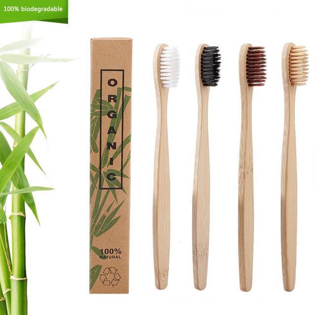 Cepillo para cuidado dental de bambú Natural, cerdas suaves para el Medio Ambiente, 4 colores, 50 unidades/lote