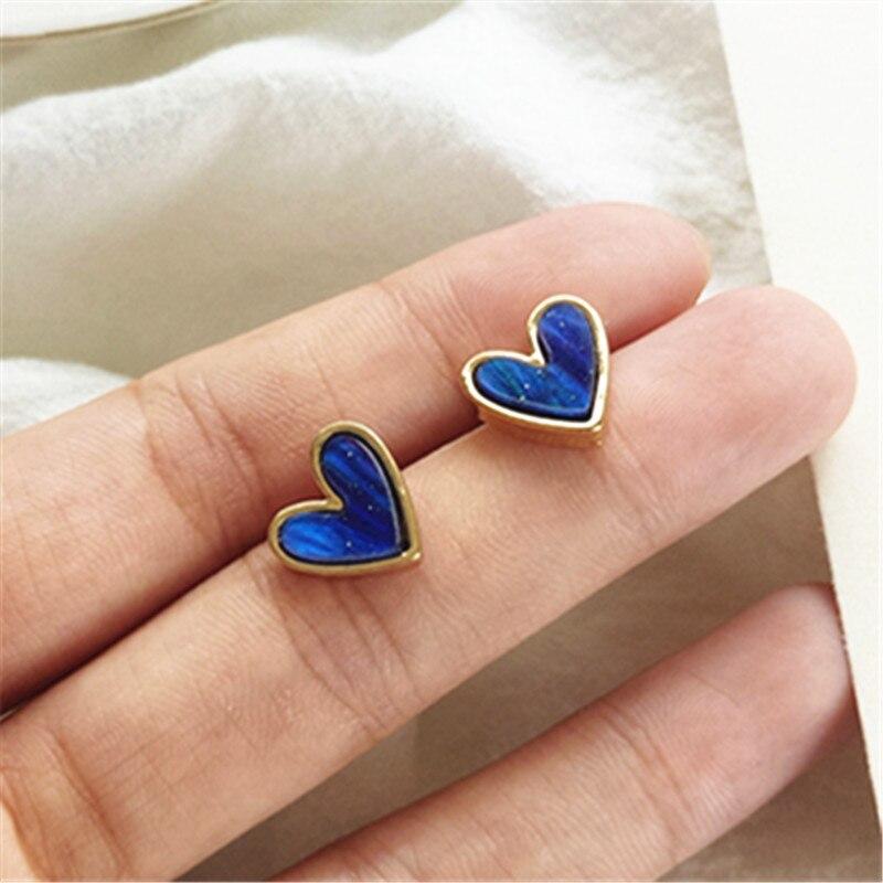 Fashion mini stud earrings female small contracted earrings heart-shaped earrings resin Cute Romantic stud earrings for women
