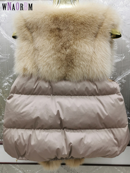 2020 New fox fur and down vest fashion real wholesale natural Leather Jacket Vest Womens coat
