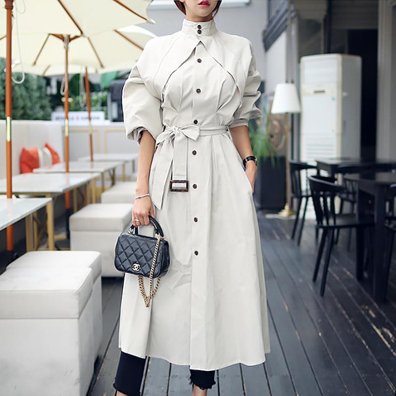 New 2019 Spring Windbreaker Women Single-Breasted Loose A-line Trench Coat Elegant Chic Sashes Outerwear Bussiness Long Trench
