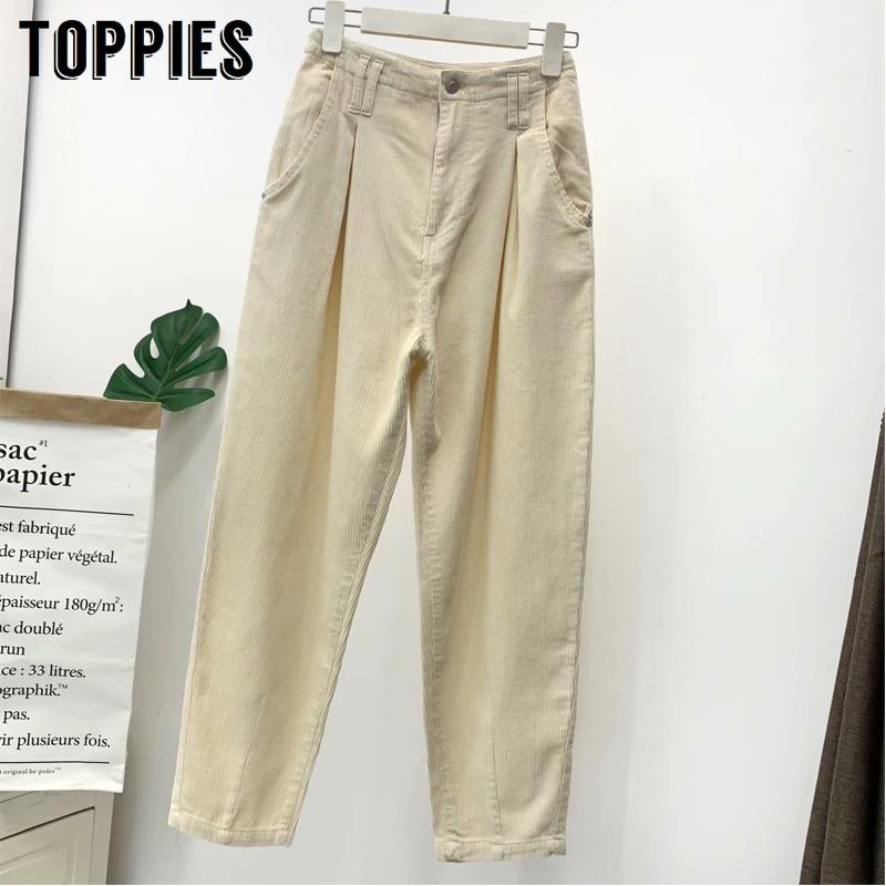 2020 White Corduroy Trousers For Women High Waist Harem Pants Korean Fashion Sweatpants Streetwear
