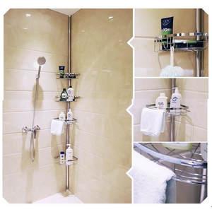 Hardware Shower-Shelf Bathroom-Fixture Stainless-Steel 4-Shelves Telescopic 110-280cm