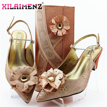 Sexy Ladies Nigerian Shoes With Matching Bags Set African Womens Party Shoes and Bag Sets Peach Color Women High Sandals