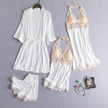 4 Pieces Pajama Set Sexy Lace Satin Sleepwear Women Summer Spring Fashion Pajamas for Women Robe