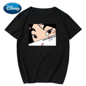 Disney Chic Fashion Mulan Cartoon Letter Print Unisex Women T-Shirt O-Neck Pullover Short Sleeve Loose Tee Tops XS - XXL 8 Color