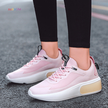 Women's plus size flat sneakers skateboard air cushion cloth cover TPU fashion shoes high-end thick increased 2020 spring new 42