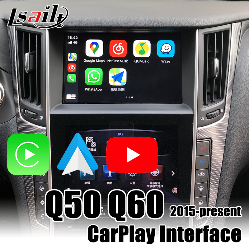 Lsailt Wireless CarPlay box for Infiniti <font><b>Q50</b></font> Q60 2015.5-2020 Android Auto with Youtube ,video inputs for adding cameras image