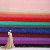 White W/Silver Glitter Sparkle Stretch Tulle Fabric,Sold by the yard, Pink, Red, Blue,yellow, Black