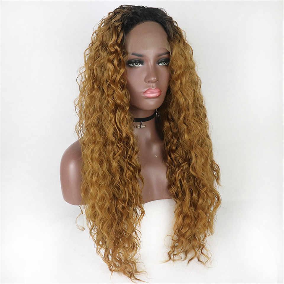 Zesen, бесплатная доставка, черный, свободный, вьющийся, синтетический, кружевной, передний парик, Детские волосы, водная волна, термостойкие, волоконные волосы, половина руки, связанный парик