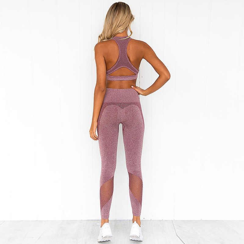 Damskie legginsy fitness zestaw z top biustonosz wysokiej talii różowy elastyczna na trening Legging 2 sztuk zestaw 2019 moda damska Sexy dres