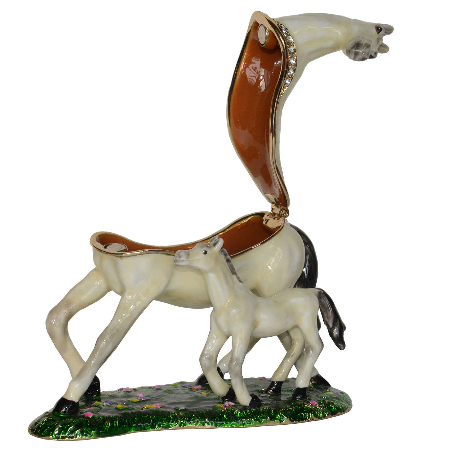 White Horse And Baby Trinket Box Horse Jewelry Box Horse Figurines Necklace Holder Creative Gifts Money Boxes Aliexpress