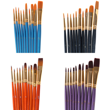 10Pcs Watercolor Gouache Paint Brushes Different Shape Round Pointed Tip Nylon Hair Painting Brush Set Art Supplies