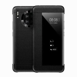 Роскошный умный флип-чехол с окошком для Huawei P40 Mate 30 Pro P30, кожаный чехол для Huawei Mate 20X 20 Mate 9 8, чехол для телефона