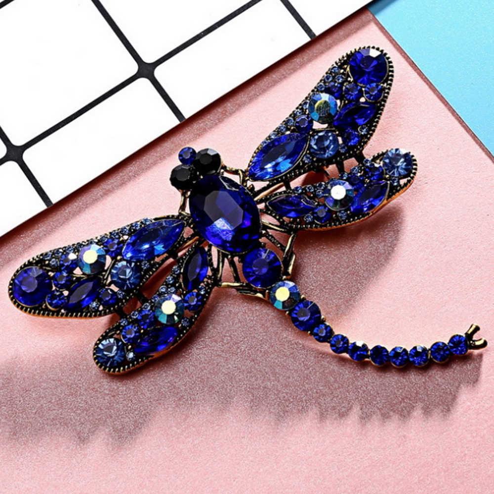 6 色クリスタルヴィンテージトンボブローチ女性昆虫ブローチピンファッションドレスコートアクセサリーかわいいジュエリー