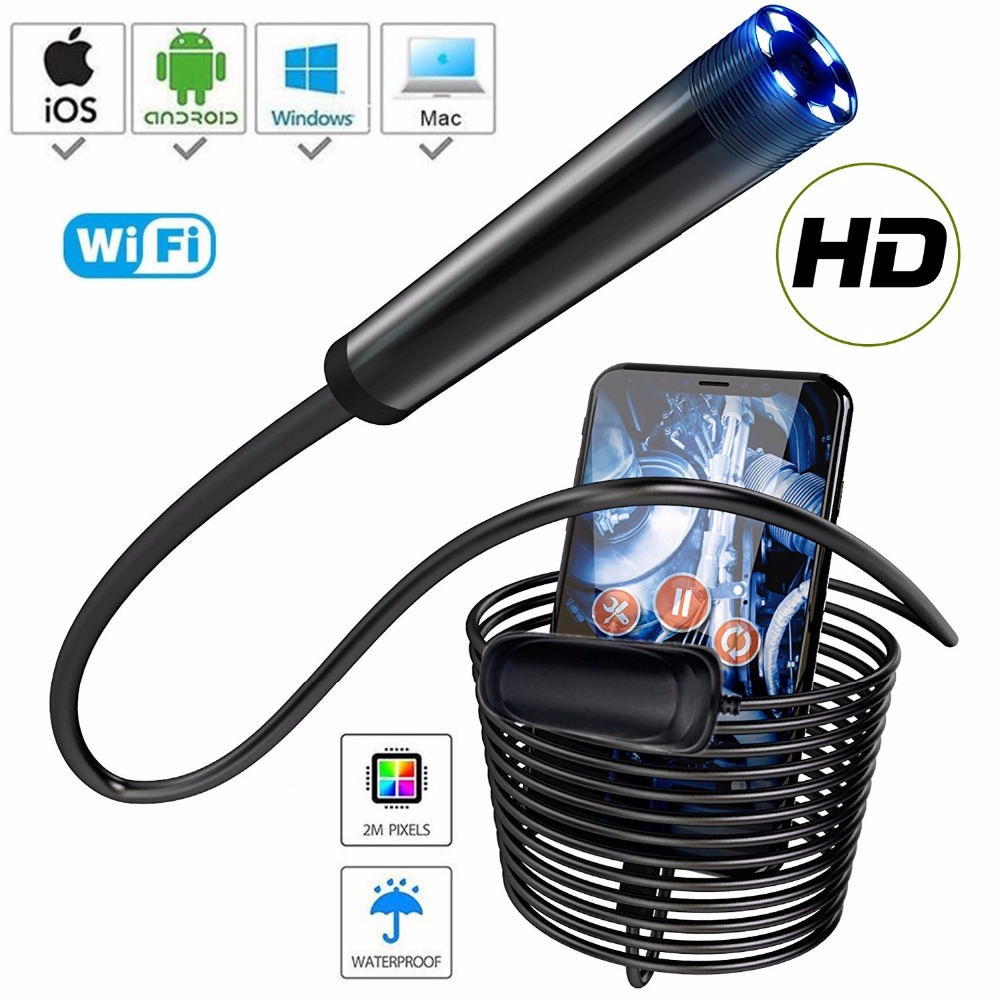wifi endoscope camera 1080p HD rigid ios iphone endoscope android smartphone ip68 waterproof sewer inspection camera 8mm 10m