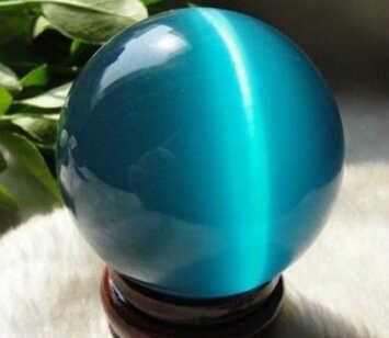 WW 06226 Asia Kuarsa Biru Mata Kucing Kristal Bola 40 Mm + Berdiri