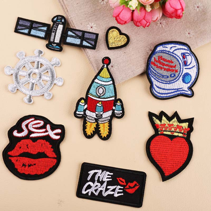 High quality embroidered iron on space lips love <font><b>sex</b></font> cartoon DIY applique clothes hat shoes decoration repair sewing <font><b>patch</b></font> image