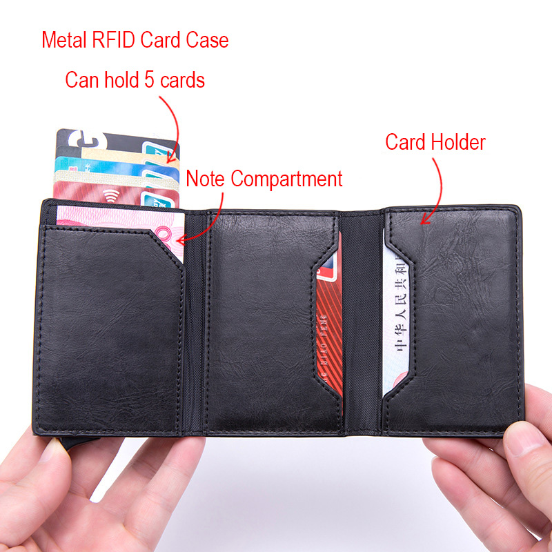 DIENQI Anti Rfid id Card Holder Case Men Leather Metal Wallet Male Coin Purse Women Mini Carbon Credit Card Holder With Zipper