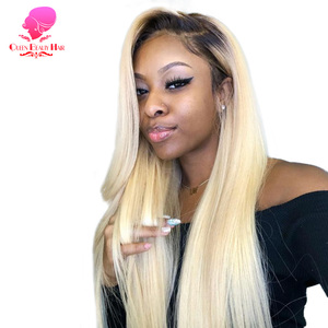 13x6 1B 613 Blonde Ombre Color Brazilian Straight Wig Long Pre Plucked Glueless Full Lace Front Human Hair Wigs for Black Women
