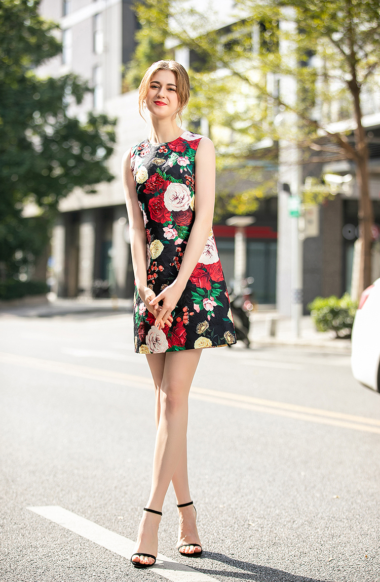 SEQINYY Black Vest Dress 2020 Summer Spring New Fashion Design Women Red Flowers Bead Sequins Printed Slim Jacquard Mini Dress