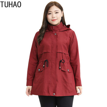 TUHAO Mother Plus Size 10XL 9XL 8XL 4XL Women Spring Long Sleeve Hoodies Jacket Coat Female Elegant Black Red Oversize Coats - discount item  49% OFF Coats & Jackets