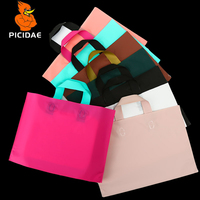 Gift Clothing Cosmetic Custom Matte Plastic Frosted Hand Packaging Bag Solid Color Daily Box Shoes Store Shopping Backpack Doll
