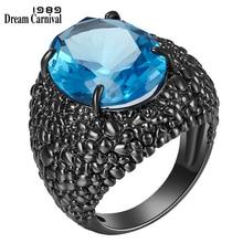 DreamCarnival-anillos de circonia cúbica con lagarto negro grande para mujer, joyería de boda deslumbrante, corte fino, circonia azul, moda 1989 WA11870BL