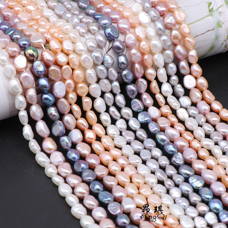 100% Natural Freshwater Pearl Beads Irregular Rice Shape Beads For Jewelry Making DIY Pearl Bracelet Necklace 6-10mm Strand 14''