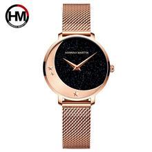 Nowy projekt modelu przyjazdu Japan MIYOTA 2035 mechanizm kwarcowy zegarek ze stali nierdzewnej księżyc gwiazdy nocny blask zegarki dla kobiet tanie tanio Hannah Martin QUARTZ Składane zapięcie z bezpieczeństwem Mosiądz 3Bar Moda casual 14mm ROUND Hardlex HM-1334 90 5inch