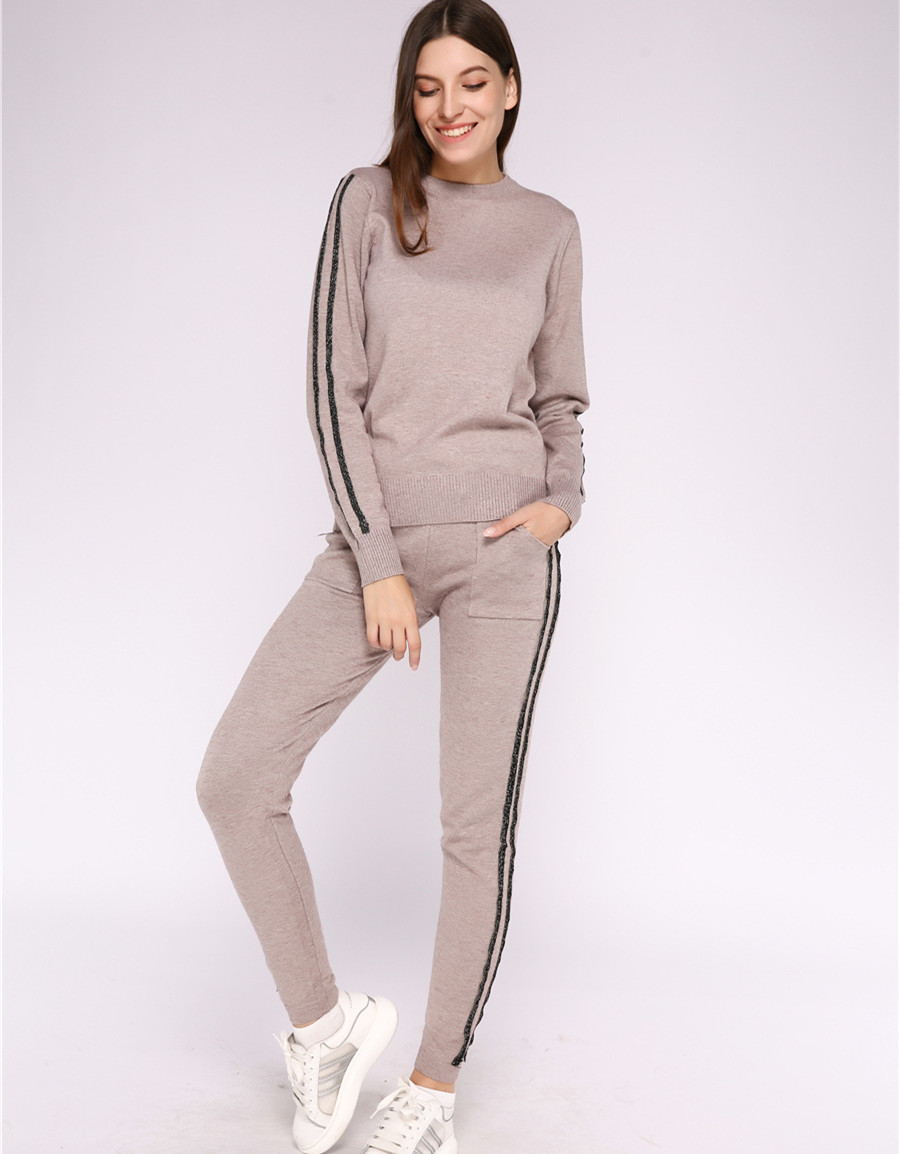 Knited Two Piece Sets Sweatshirt 2019 Side Stripe Pullovers Suits Knit Pants Tracksuit For Women Sweatshirt Casual 2 Piece Sets